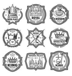 vintage monochrome imperial labels set vector image