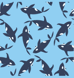 whales seamless pattern vector image