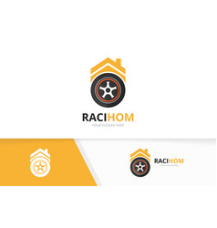 Wheel and real estate logo combination vector