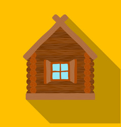 Wooden house icon in flat style isolated on white vector