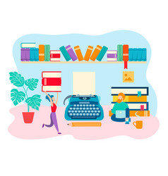 Working space of the writer literary work vector