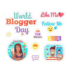 world blogger day cake with candles set vector image