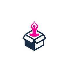 yoga box logo icon design vector image