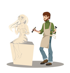 Young man sculptor working on his sculpture vector