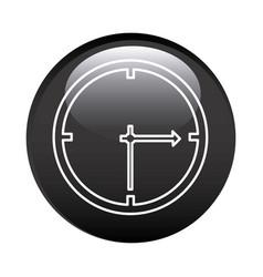 black circular frame with wall clock icon vector image