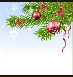 christmas ball and fir tree vector image vector image