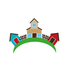 colorful set collection farm and houses vector image