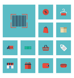 flat icons percentage label case and other vector image vector image