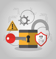 Open padlock security key software protection vector