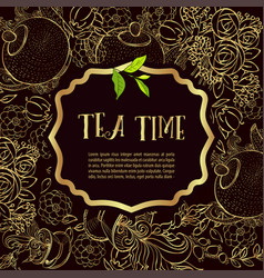 time to drink tea trendy poster vector image