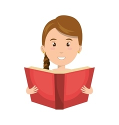 avatar woman smiling with a book vector image vector image