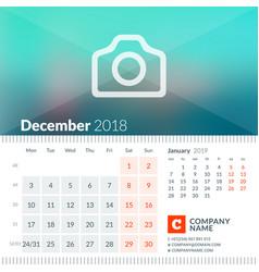 december 2018 calendar for 2018 year week starts vector image vector image
