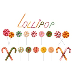 Lollipop and candy cane collection vector image