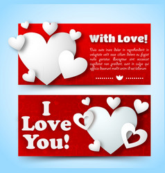 romantic decorative horizontal banners vector image