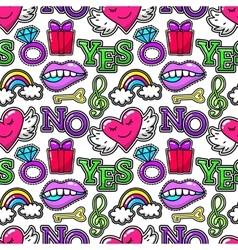 Seamless pattern with fashion patch badges wings vector image vector image