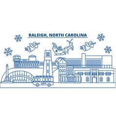 usa north carolina raleigh winter city skyline vector image vector image