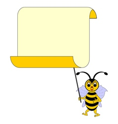 A funny cartoon bee with a big blank paper vector image