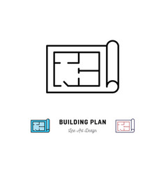 building plan icon outline symbol of construction vector image