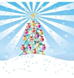 Christmas Tree on Snow Hill2 vector image