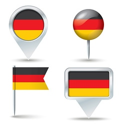 Map pins with flag of germany vector