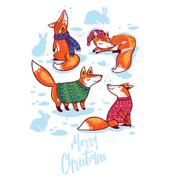 merry christmas cute greeting card with cartoon vector image