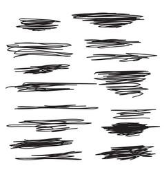 scribble brush strokes set vector image