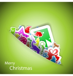 Stickers merry Christmas card eps10 vector image vector image