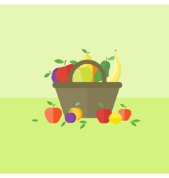 Card with fruits in flat style vector