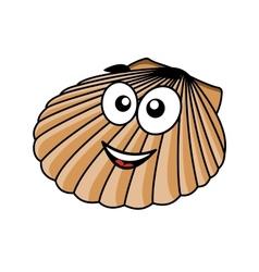 Cartoon seashell with a happy smile vector image