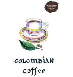 Cup of colombian coffee with coffee beans and leaf vector