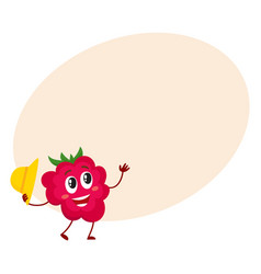 cute and funny comic style raspberry character vector image