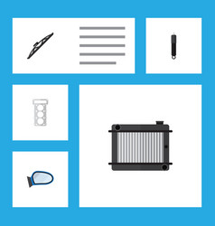 flat component set of packing auto component vector image