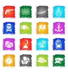 pirates icon set vector image vector image