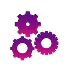 purple gears sign icon vector image