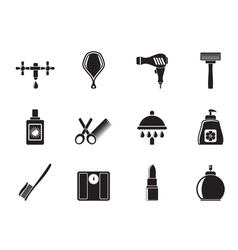 Silhouette Personal care and cosmetics icons vector image vector image