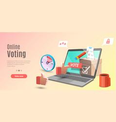 3d concept online voting app e-voting vector image