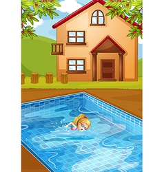 A girl swimming at the pool vector