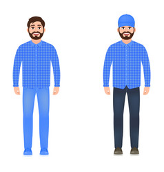 A man dressed in jeans a plaid shirt and a cap a vector