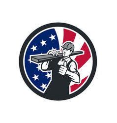 american lumberyard worker usa flag icon vector image