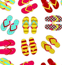 Beach slippers colorful seamless background vector