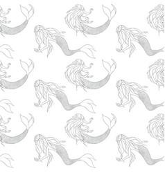 Beautiful mermaids contours seamless pattern vector