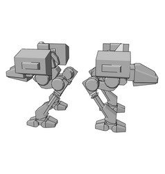 Big silver robot on white background vector