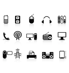 Black electronic icons set vector