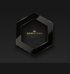 Black hexagon glossy luxury dark vector