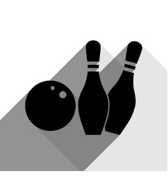 bowling sign black icon with vector image