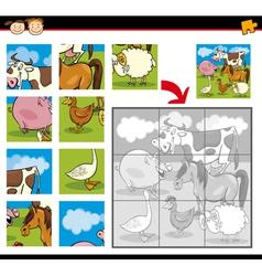 Cartoon farm animals jigsaw puzzle vector