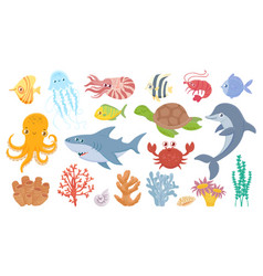 Cartoon sea life cute sea fish aquatic corals vector