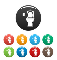 Ceramic toilet icons set color vector