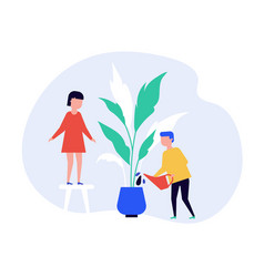Children watering houseplant together flat vector