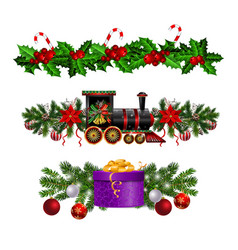 christmas decorations with fir tree and train vector image